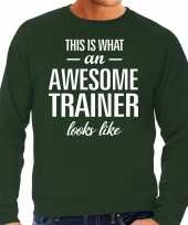 Awesome geweldige trainer cadeau sweater groen heren