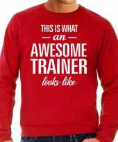 Awesome geweldige trainer cadeau sweater rood heren