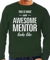 Awesome mentor leermeester cadeau sweater groen heren