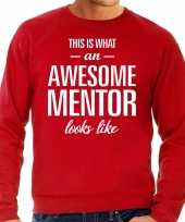 Awesome mentor leermeester cadeau sweater rood heren