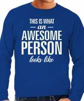 Awesome person persoon cadeau sweater blauw heren