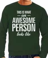 Awesome person persoon cadeau sweater groen heren