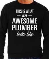 Awesome plumber loodgieter cadeau sweater zwart heren