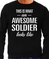 Awesome soldier soldaat cadeau sweater zwart heren