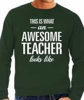 Awesome teacher leraar cadeau sweater groen heren