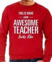 Awesome teacher leraar cadeau sweater rood heren