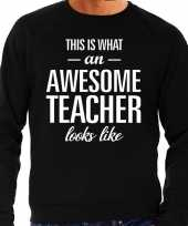 Awesome teacher leraar cadeau sweater zwart heren