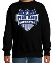 Finland schild supporter sweater zwart kinder