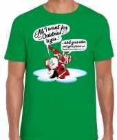 Fout kerst-shirt zingende kerstman gitaar groen heren
