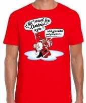 Fout kerst-shirt zingende kerstman gitaar rood heren