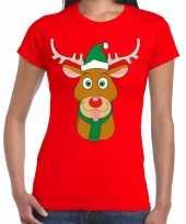 Foute kerst t-shirt rendier rudolf groene kerstmuts rood dames