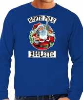 Foute kerstsweater outfit northpole roulette blauw heren
