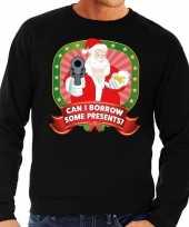 Foute kersttrui zwart can i borrow some presents heren