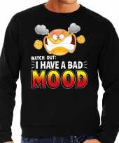 Funny emoticon sweater i have a bad mood zwart heren