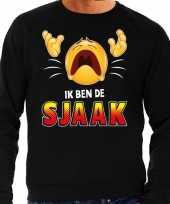 Funny emoticon sweater ik ben sjaak zwart heren