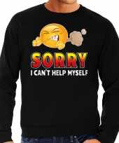 Funny emoticon sweater sorry i cant help myself zwart heren