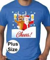 Grote maten fout kerst-shirt dronken kerstman blauw heren