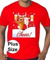 Grote maten fout kerst-shirt dronken kerstman rood heren