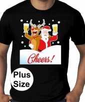 Grote maten fout kerst-shirt dronken kerstman zwart heren