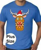 Grote maten fout kerst-shirt rudolf rendier blauw heren