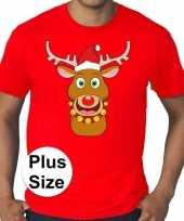 Grote maten fout kerst-shirt rudolf rendier rood heren