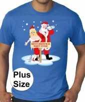 Grote maten fout kerst t-shirt best christmas party blauw heren