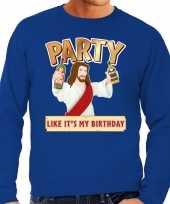 Grote maten foute kersttrui party jezus blauw heren