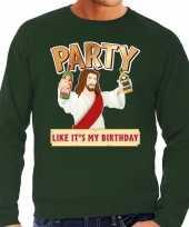 Grote maten foute kersttrui party jezus groen heren