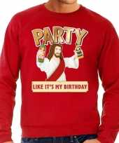 Grote maten foute kersttrui party jezus rood heren