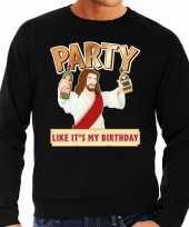 Grote maten foute kersttrui party jezus zwart heren