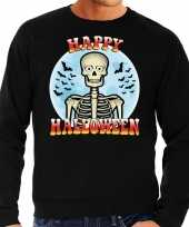 Happy halloween skelet verkleed sweater zwart heren