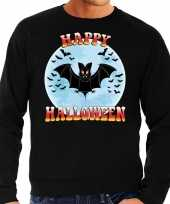 Happy halloween vleermuis verkleed sweater zwart heren