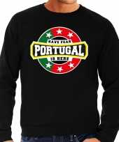 Have fear portugal is here portugal supporter sweater zwart heren