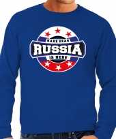 Have fear russia is here rusland supporter sweater blauw heren