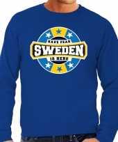 Have fear sweden is here zweden supporter sweater blauw heren
