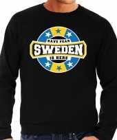 Have fear sweden is here zweden supporter sweater zwart heren