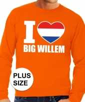 Oranje i love big willem grote maten sweater trui heren