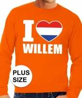 Oranje i love willem grote maten sweater trui heren
