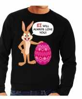 Paas sweater ei will always love you zwart heren
