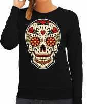 Sugar skull fashion sweater rock punker zwart dames