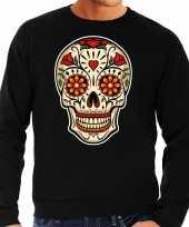 Sugar skull fashion sweater rock punker zwart heren