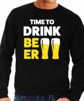 Time to drink beer tekst sweater zwart heren