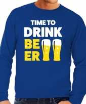 Toppers time to drink beer tekst sweater blauw