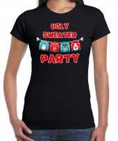 Ugly sweater party kerstshirt outfit zwart dames