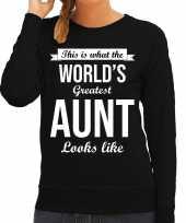 Worlds greatest aunt tante cadeau sweater zwart dames