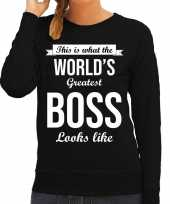 Worlds greatest boss baas cadeau sweater zwart dames