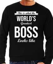 Worlds greatest boss cadeau sweater zwart heren