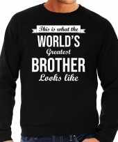 Worlds greatest brother cadeau sweater zwart heren