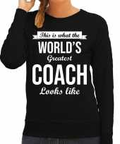 Worlds greatest coach cadeau sweater zwart dames