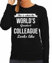 Worlds greatest colleague collega cadeau sweater zwart dames